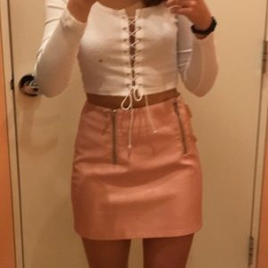new F21 leather skirt